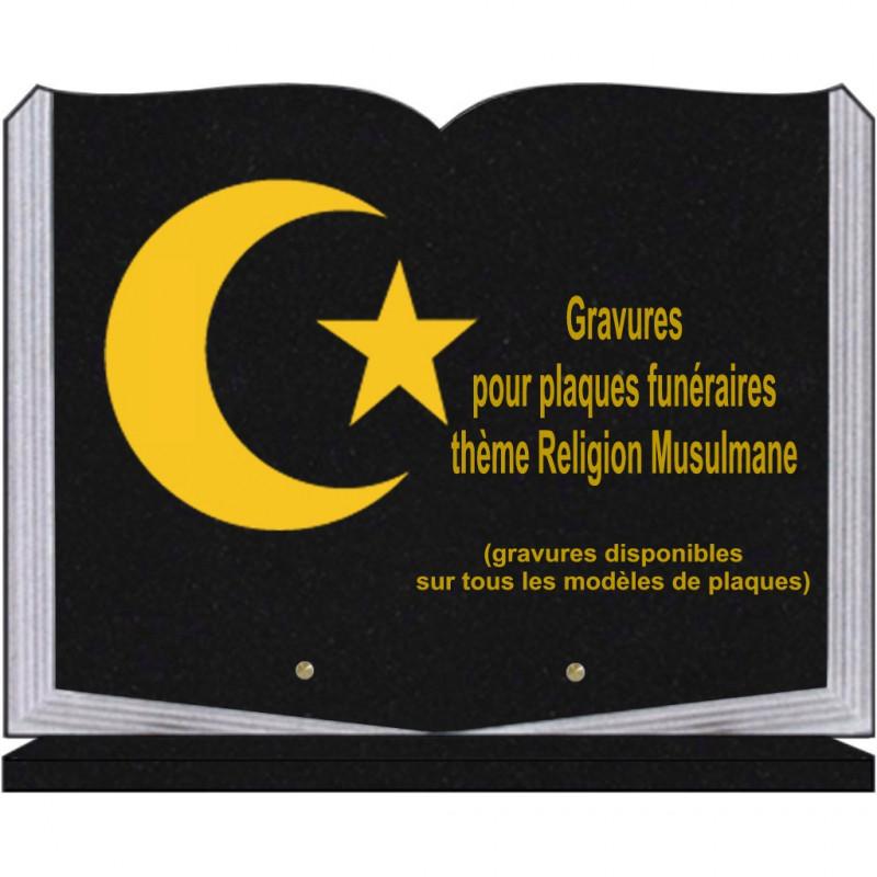 PLAQUE FUNÉRAIRE 30X40 LIVRE SUR SOCLE GRANIT RELIGIONS