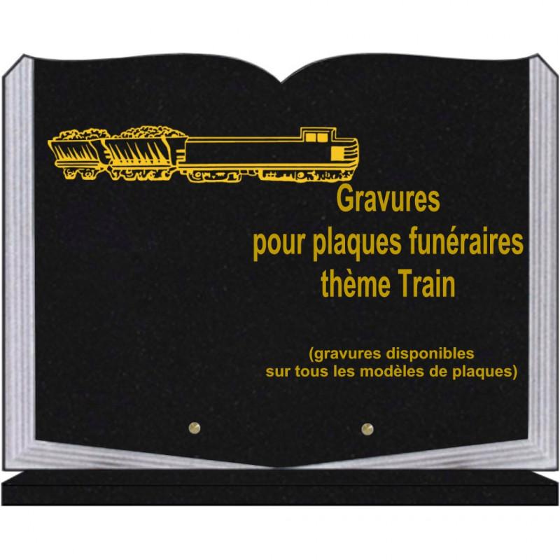 PLAQUE FUNÉRAIRE 30X40 LIVRE SUR SOCLE GRANIT TRAINS