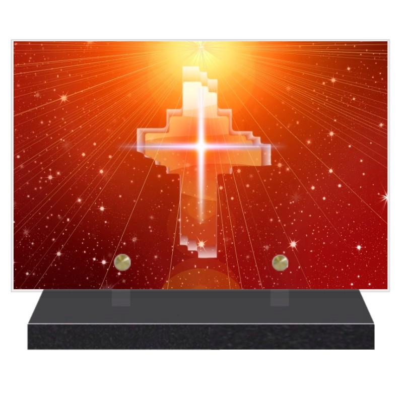 PLAQUE FUNÉRAIRE RELIGION CHRÉTIENNE 20 cm X 30 cm FPF6416