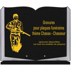 PLAQUE FUNÉRAIRE 35X45 LIVRE SUR SOCLE GRAVURE CHASSE CHASSEURS