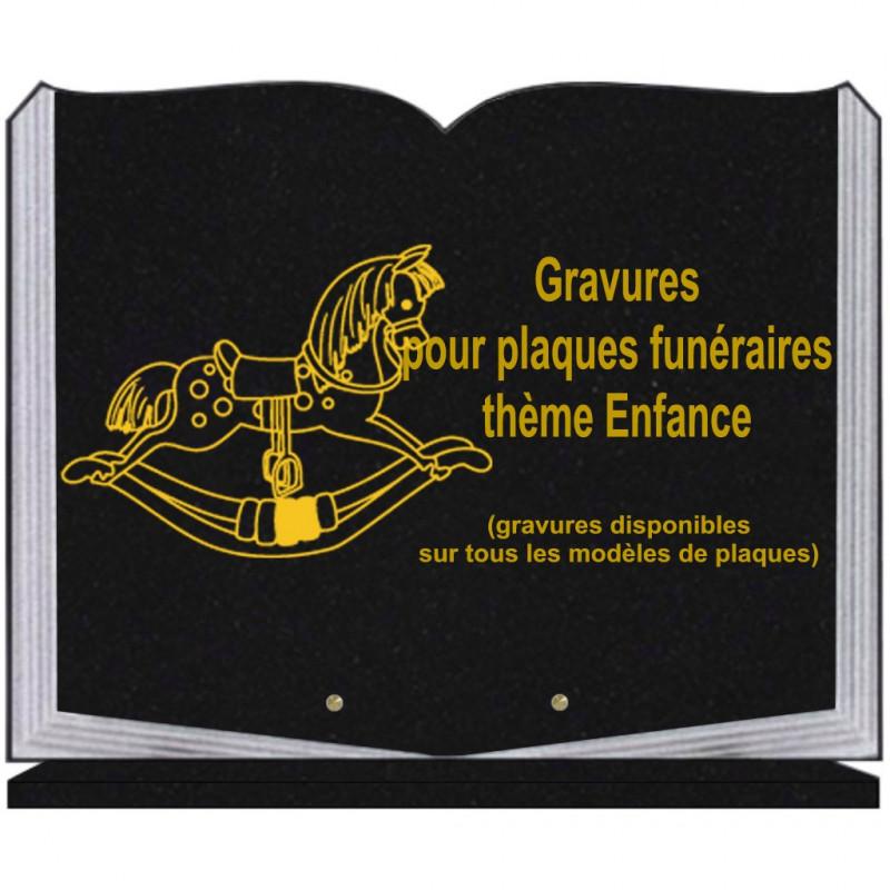 PLAQUE FUNÉRAIRE 35X45 LIVRE SUR SOCLE GRAVURE ENFANCE