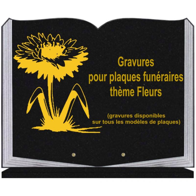 PLAQUE FUNÉRAIRE 35X45 LIVRE SUR SOCLE GRAVURE FLEURS
