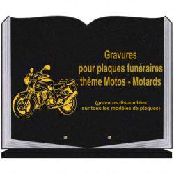 PLAQUE FUNÉRAIRE 35X45 LIVRE SUR SOCLE GRAVURE MOTOS MOTARDS