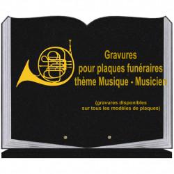 PLAQUE FUNÉRAIRE 35X45 LIVRE SUR SOCLE GRAVURE MUSIQUE MUSICIENS