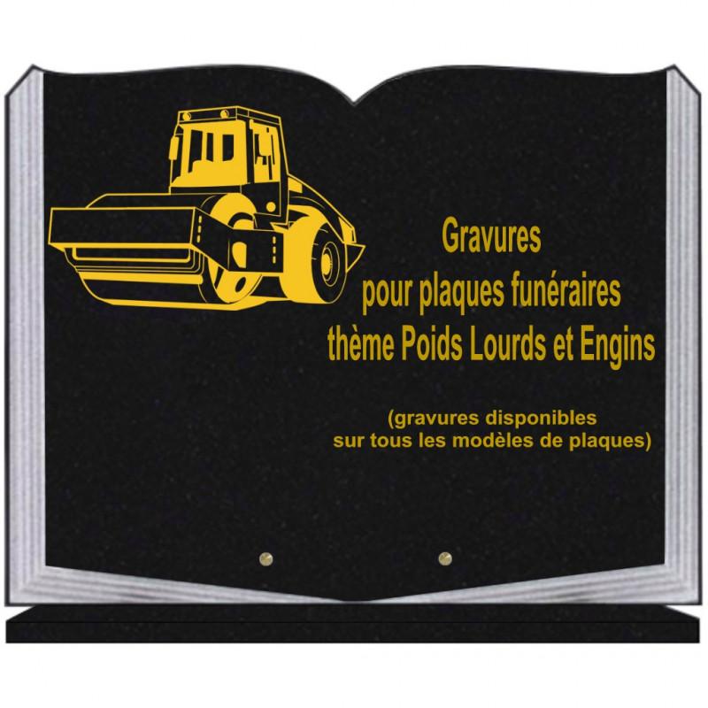 PLAQUE FUNÉRAIRE 35X45 LIVRE SUR SOCLE GRAVURE POIDS LOURDS ET ENGINS