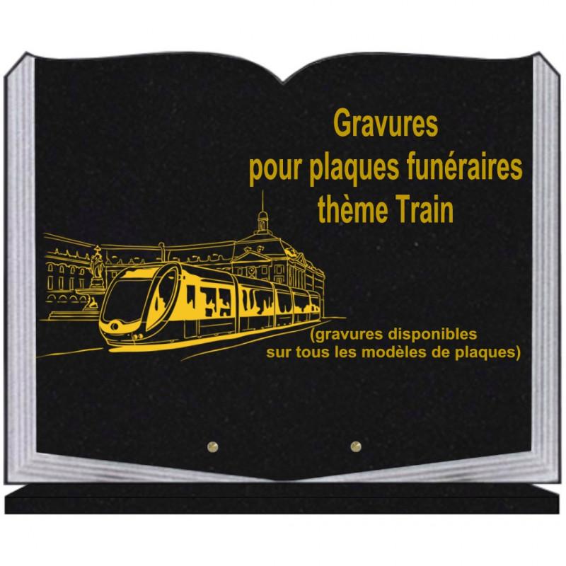 PLAQUE FUNÉRAIRE 35X45 LIVRE SUR SOCLE GRAVURE TRAINS