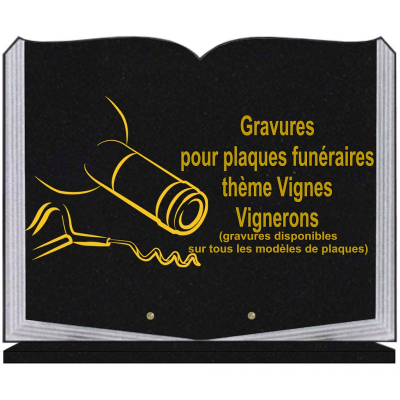 PLAQUE FUNÉRAIRE 35X45 LIVRE SUR SOCLE GRAVURE VIGNES VIGNERONS
