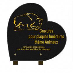 PLAQUE FUNÉRAIRE 30X30 COEUR GRANIT SUR PIEDS ANIMAUX