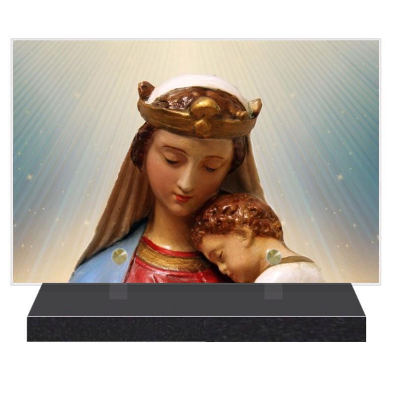 PLAQUE FUNÉRAIRE VIERGE MARIE RELIGION 20 cm X 30 cm FPF6421