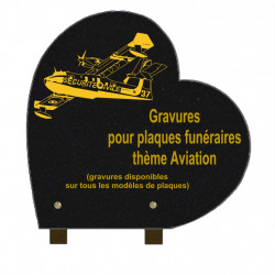 PLAQUE FUNÉRAIRE 30X30 COEUR GRANIT SUR PIEDS AVIATION