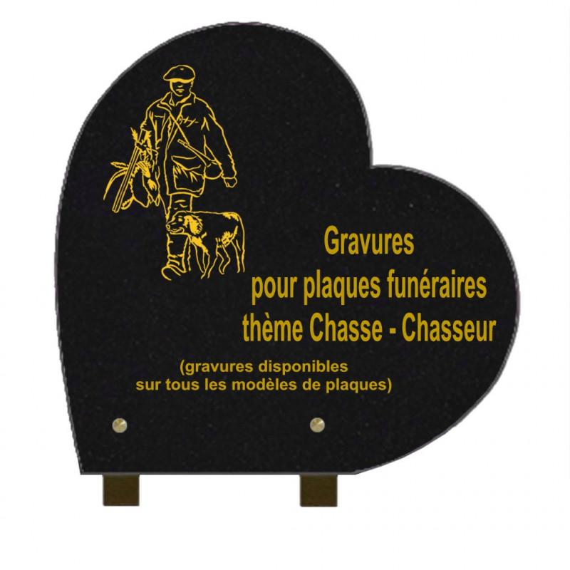 PLAQUE FUNÉRAIRE 30X30 COEUR GRANIT SUR PIEDS CHASSE CHASSEURS