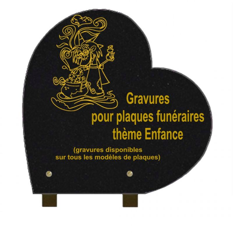 PLAQUE FUNÉRAIRE 30X30 COEUR GRANIT SUR PIEDS ENFANCE