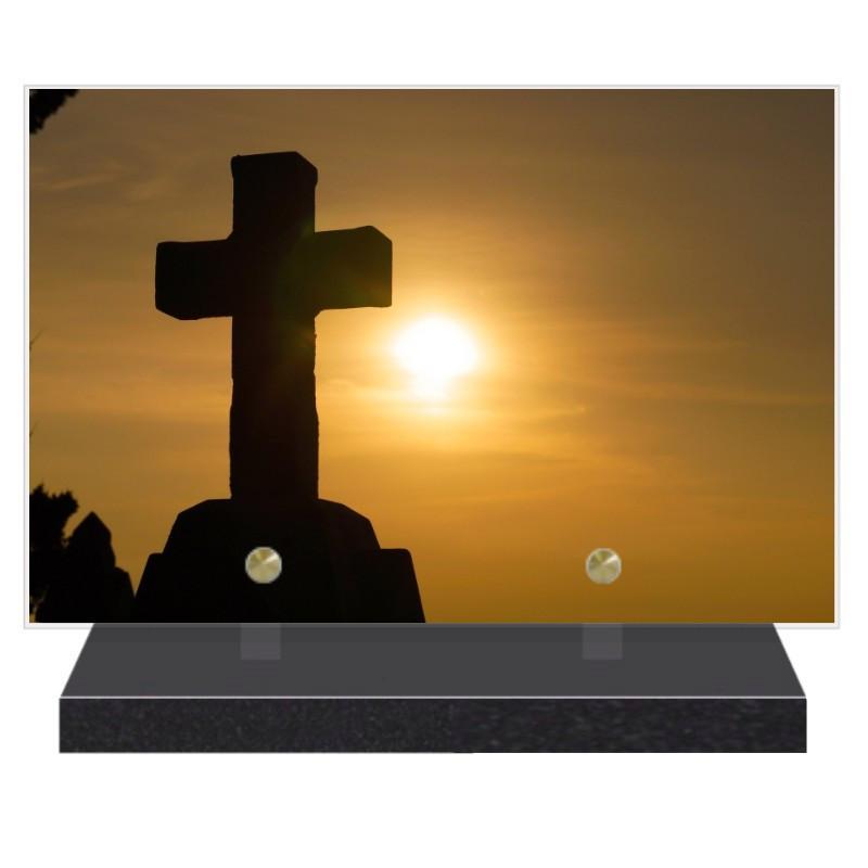 PLAQUE FUNÉRAIRE CROIX RELIGION 20 cm X 30 cm FPF6422