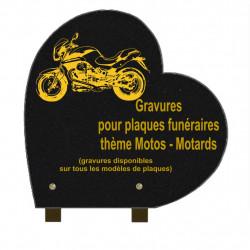 PLAQUE FUNÉRAIRE 30X30 COEUR GRANIT SUR PIEDS MOTOS MOTARDS