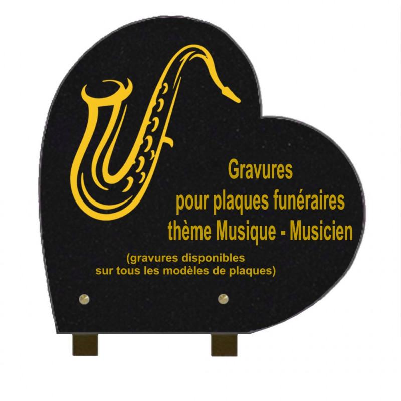 PLAQUE FUNÉRAIRE 30X30 COEUR GRANIT SUR PIEDS MUSIQUE MUSICIENS