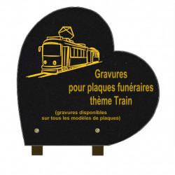 PLAQUE FUNÉRAIRE 30X30 COEUR GRANIT SUR PIEDS TRAINS