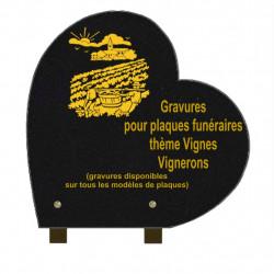 PLAQUE FUNÉRAIRE 30X30 COEUR GRANIT SUR PIEDS VIGNES VIGNERONS