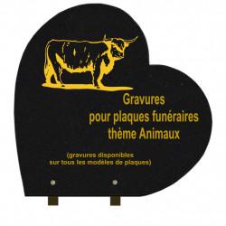 PLAQUE FUNÉRAIRE 40X40 COEUR GRANIT SUR PIEDS ANIMAUX