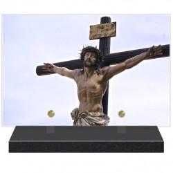 PLAQUE FUNÉRAIRE CHRIST EN CROIX RELIGION 20 cm X 30 cm FPF6425