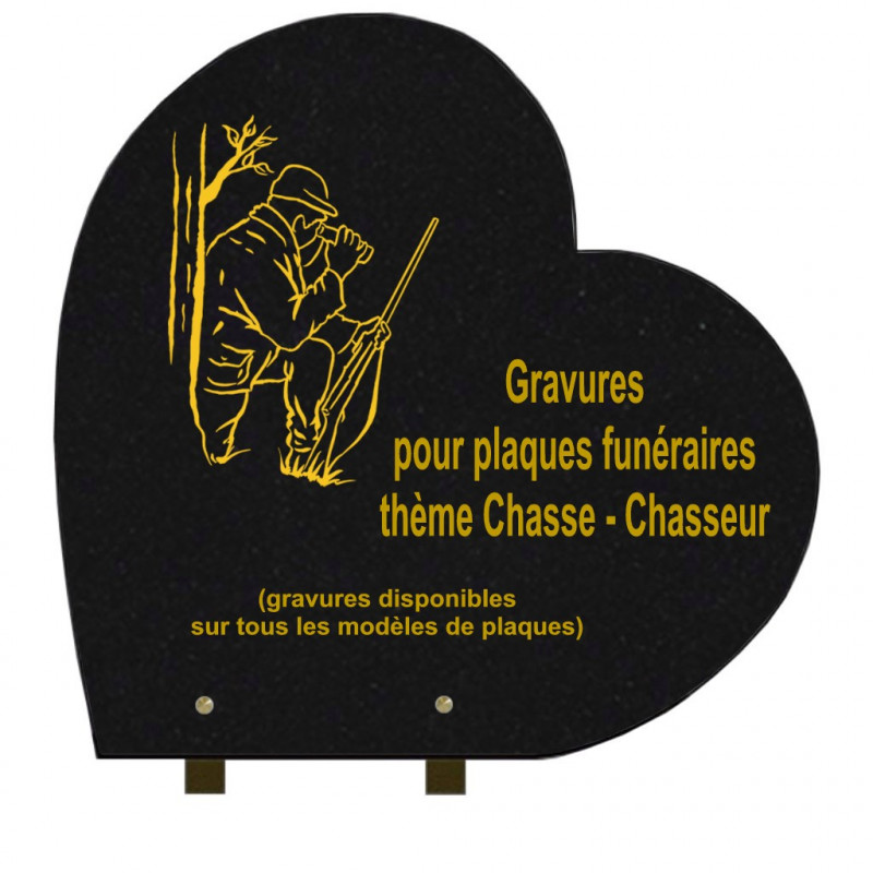 PLAQUE FUNÉRAIRE 40X40 COEUR GRANIT SUR PIEDS CHASSEURS