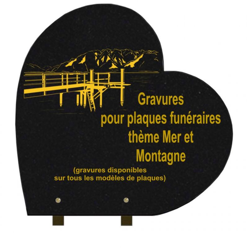PLAQUE FUNÉRAIRE 40X40 COEUR GRANIT SUR PIEDS MER ET MONTAGNE