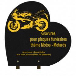 PLAQUE FUNÉRAIRE 40X40 COEUR GRANIT SUR PIEDS MOTOS MOTARDS