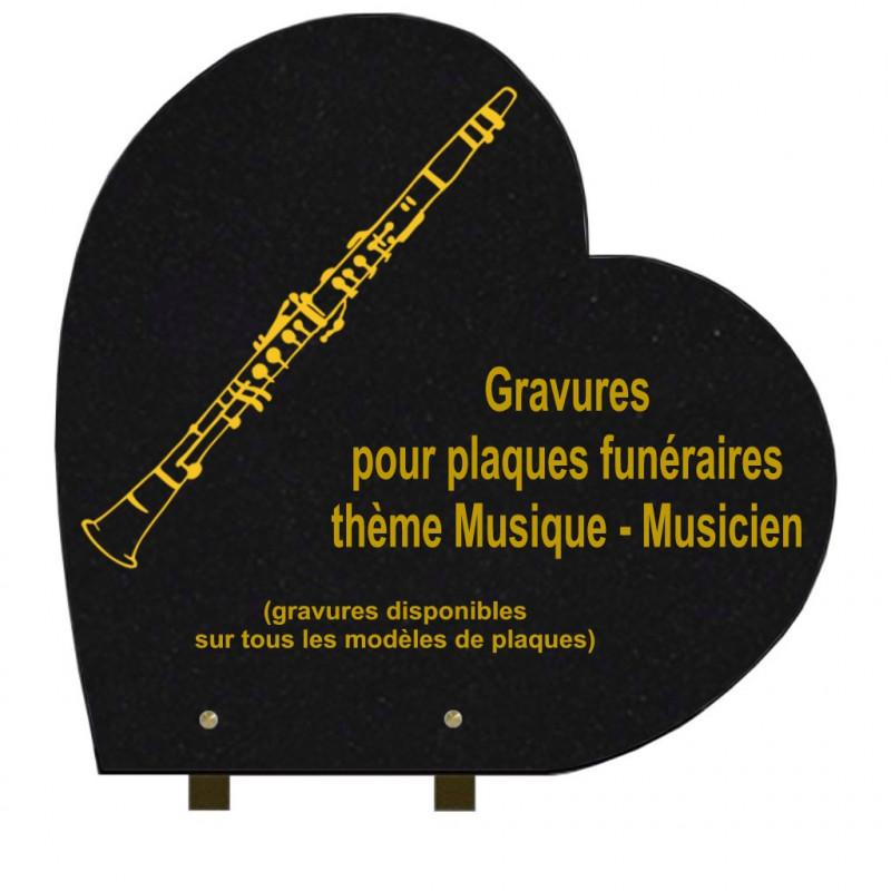 PLAQUE FUNÉRAIRE 40X40 COEUR GRANIT SUR PIEDS MUSICIENS MUSIQUE