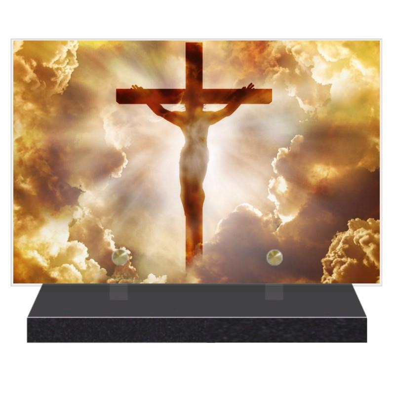 PLAQUE FUNÉRAIRE CROIX RELIGION CHRIST 20 cm X 30 cm FPF6427
