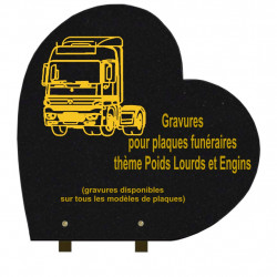PLAQUE FUNÉRAIRE 40X40 COEUR GRANIT SUR PIEDS POIDS LOURDS ET ENGINS