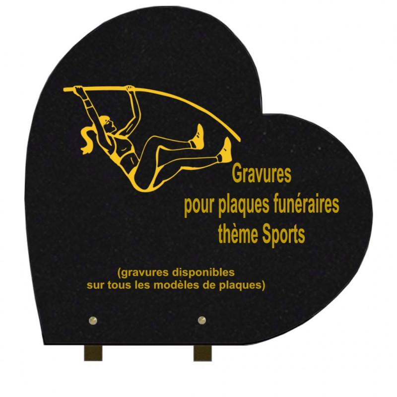 PLAQUE FUNÉRAIRE 40X40 COEUR GRANIT SUR PIEDS SPORTS