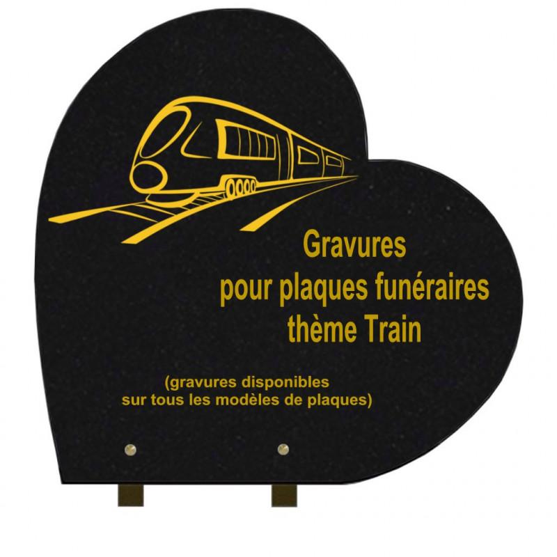 PLAQUE FUNÉRAIRE 40X40 COEUR GRANIT SUR PIEDS TRAINS