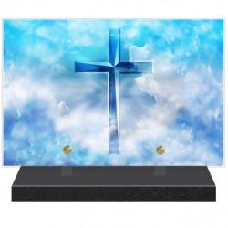 PLAQUE FUNÉRAIRE RELIGION CROIX CHRIST 20 cm X 30 cm FPF6428