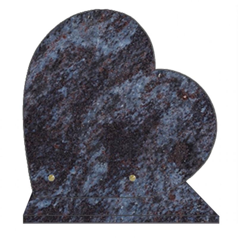 PLAQUE FUNÉRAIRE 30X30 COEUR GRANIT MASS BLUE SUR SOCLE