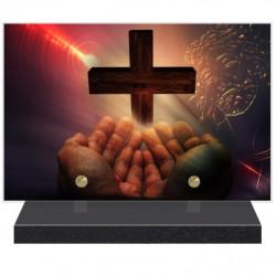 PLAQUE FUNÉRAIRE RELIGION CROIX CHRIST 20 cm X 30 cm FPF6429