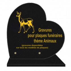 PLAQUE FUNÉRAIRE 30X30 COEUR SUR SOCLE GRAVURE ANIMAUX