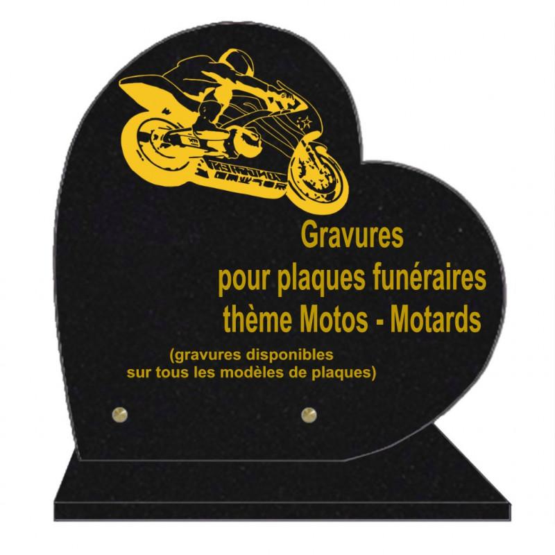 PLAQUE FUNÉRAIRE 30X30 COEUR SUR SOCLE GRAVURE MOTARDS MOTOS