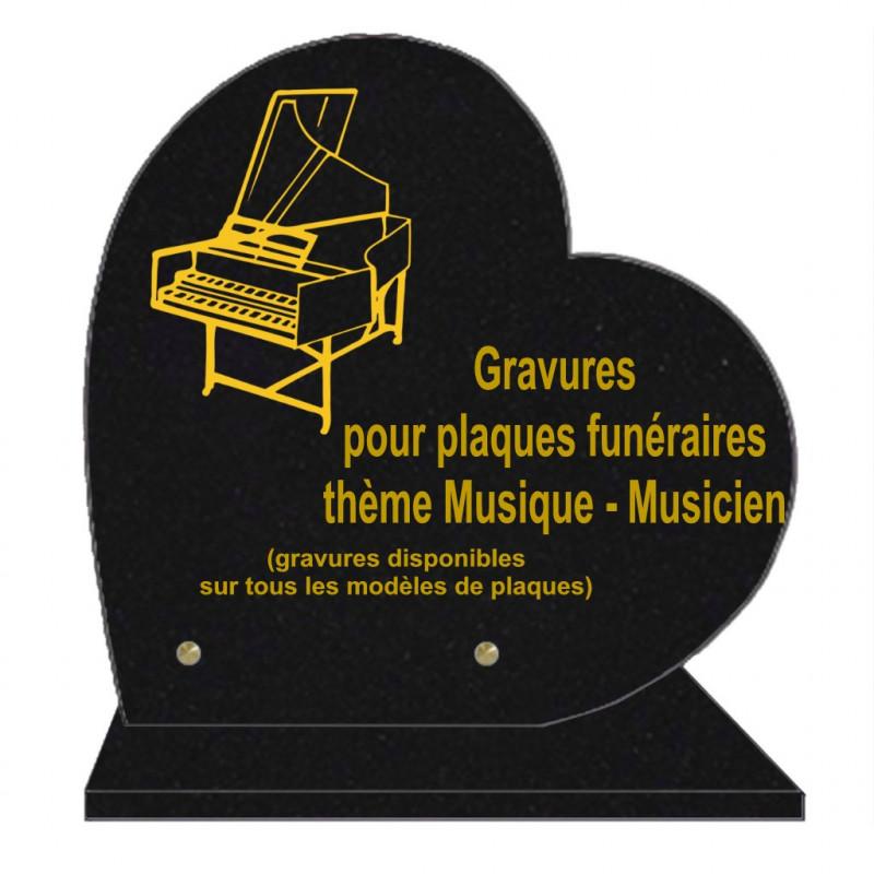 PLAQUE FUNÉRAIRE 30X30 COEUR SUR SOCLE GRAVURE MUSICIENS MUSIQUE