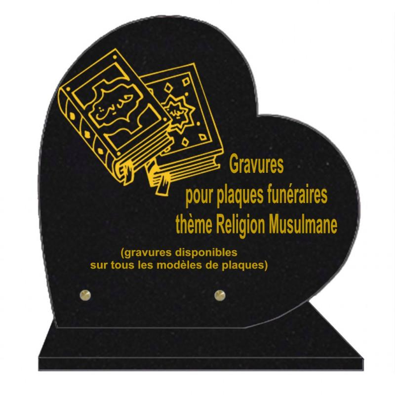 PLAQUE FUNÉRAIRE 30X30 COEUR SUR SOCLE GRAVURE RELIGIONS