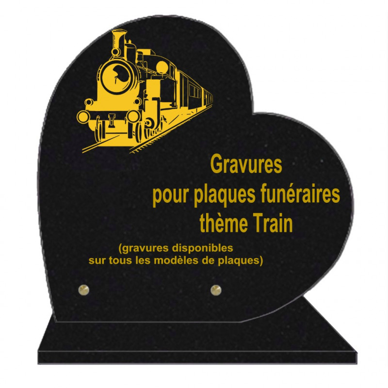 PLAQUE FUNÉRAIRE 30X30 COEUR SUR SOCLE GRAVURE TRAINS