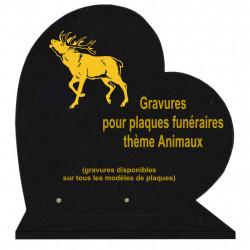 PLAQUE FUNÉRAIRE 40X40 COEUR GRANIT ANIMAUX SUR SOCLE