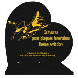 PLAQUE FUNÉRAIRE 40X40 COEUR GRANIT AVIATION AVIONS SUR SOCLE