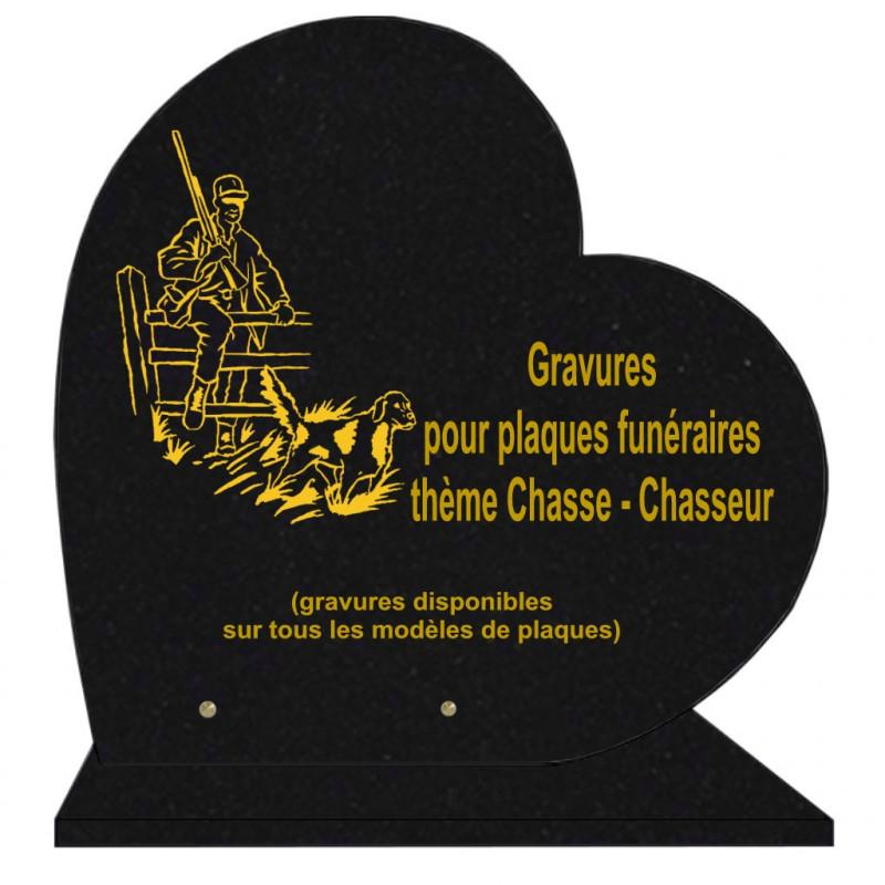 PLAQUE FUNÉRAIRE 40X40 COEUR GRANIT CHASSE CHASSEURS SUR SOCLE