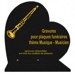 PLAQUE FUNÉRAIRE 40X40 COEUR GRANIT MUSIQUE MUSICIENS SUR SOCLE