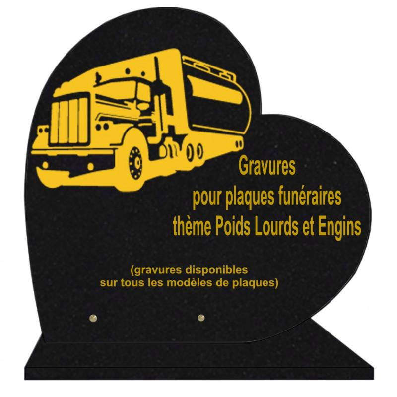 PLAQUE FUNÉRAIRE 40X40 COEUR GRANIT POIDS LOURDS ET ENGINS SUR SOCLE