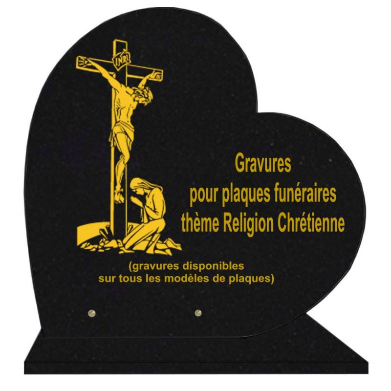 PLAQUE FUNÉRAIRE 40X40 COEUR GRANIT RELIGIONS SUR SOCLE