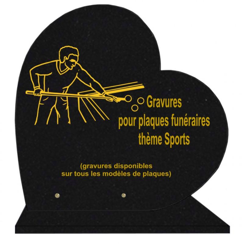 PLAQUE FUNÉRAIRE 40X40 COEUR GRANIT SPORTS SUR SOCLE