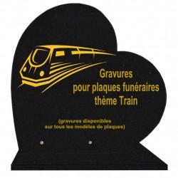 PLAQUE FUNÉRAIRE 40X40 COEUR GRANIT TRAINS SUR SOCLE