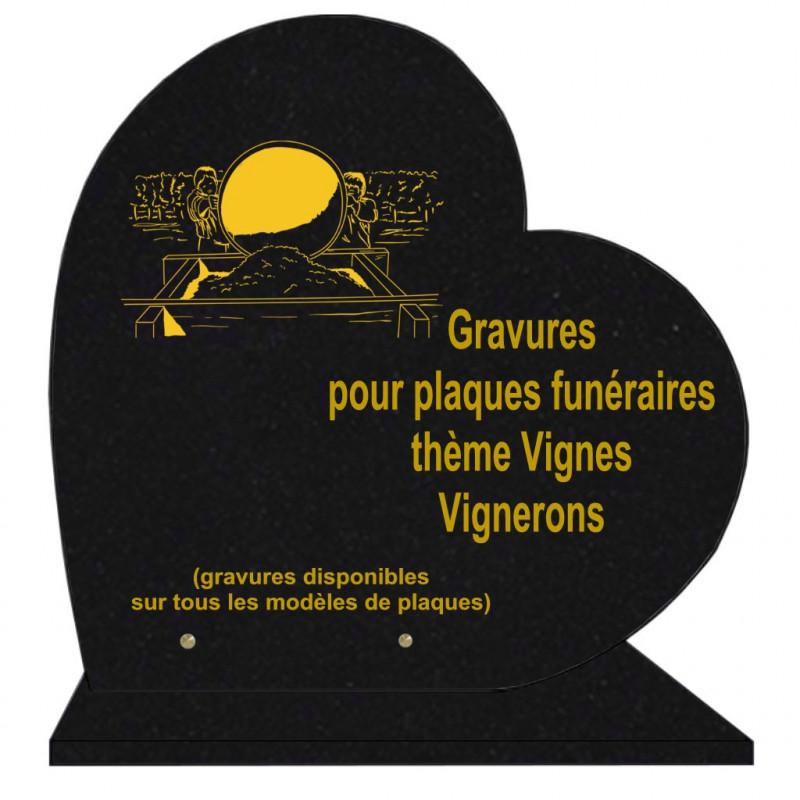 PLAQUE FUNÉRAIRE 40X40 COEUR GRANIT VIGNES VIGNERONS SUR SOCLE