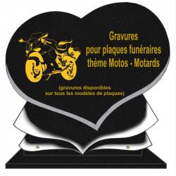 PLAQUE FUNÉRAIRE COEUR GRANIT MOTOS MOTARDS SUR SOCLE