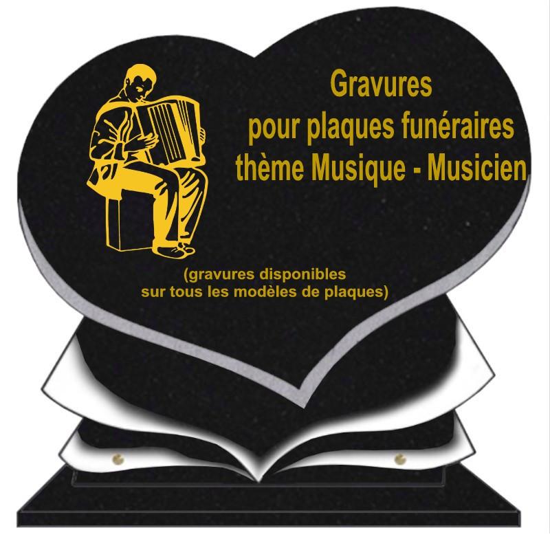 PLAQUE FUNÉRAIRE COEUR GRANIT MUSIQUE MUSICIENS SUR SOCLE